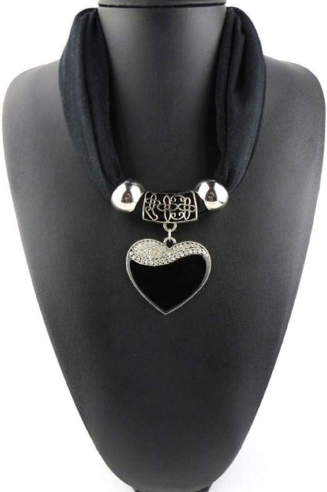 SHEDRWE Corazón de Mujer Colgante Collar Colgante Piedra Joyería Bufanda Bufanda a Rayas