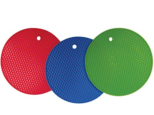 Better Kitchen Products Set Of 3, Large Silicone Pot Holders, Hot Pads, Trivets, 7 Inch, Blue, Lime Green and Red