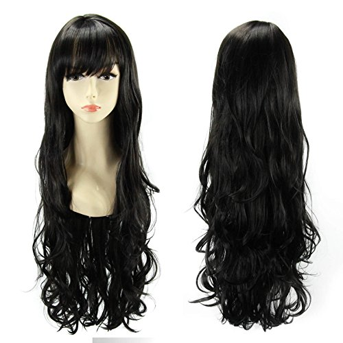 Fannis Coco Halloween Costume 30'' Waist-length Long Wavy Curly with Flat Bangs Wigs for Women Fluffy Air Volume Hair Natural as Real (Balck)
