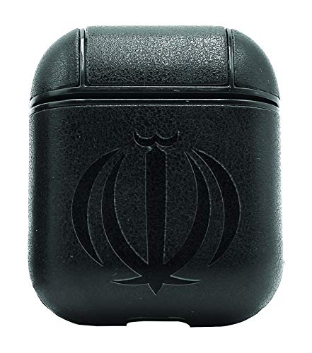 Islam Iran Coat ARMS (Vintage Black) Air Pods Protective Leather Case Cover - a New Class of Luxury to Your AirPods - Premium PU Leather and Handmade exquisitely by Master Craftsmen