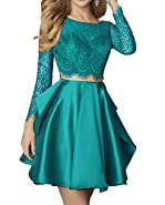 AngelaLove Women's 2017 Lace Two Piece Short Homecoming Dresses Long Sleeve Short Cocktail Prom Dresses