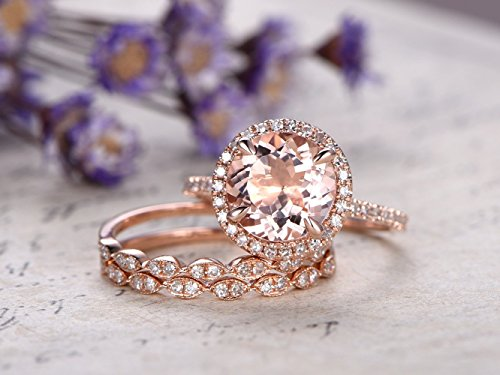 3pcs Pink Morganite Engagement Ring Set,8mm Round Cut Natural Gemstone Solid 14k Rose Gold Diamond Halo Claw Prong Wedding Ring Half Eternity Marquise Milgrain Matching Bridal Promise Band