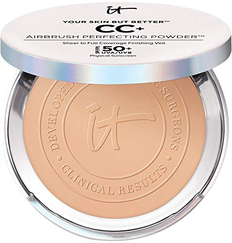 iT Cosmetics Your Skin but Better CC+ Airbrush Perfecting Powder in Medium Full Size .33 Ounces