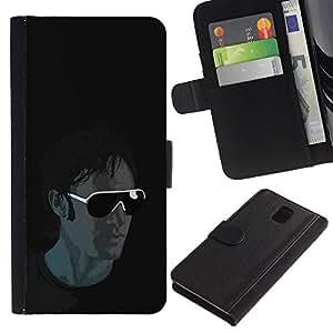 Billetera de Cuero Caso del tirón Titular de la tarjeta Carcasa Funda del zurriago para Samsung Galaxy Note 3 III N9000 N9002 N9005 / Business Style Sunglasses Guy