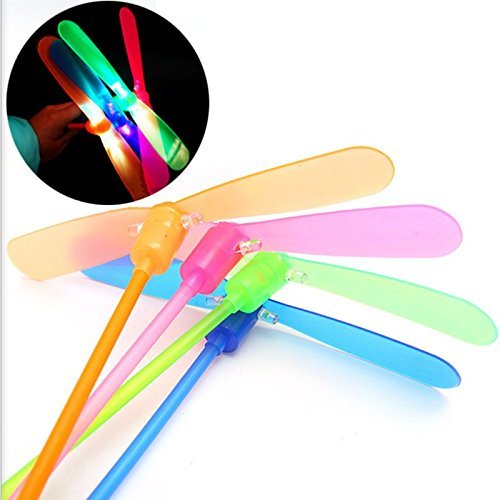 100 Pcs LED Light-up Bamboo-copter Plastic Dragonfly Toy Gift for Children Random Color by Alician