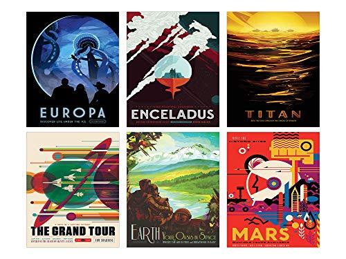 NASA Space Wall Decor - Set of Six 8x10 Glossy Prints - Perfect Future Planet Travel Room Art Posters (Wall Art Nasa)