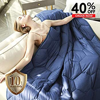Image of YEMYHOM 100% Cotton Weighted Blanket Adult Bed Heavy Blankets with Glass Beads (48'x72' 15 lbs, Blue) YEMYHOM B07G46T3GF Weighted Blankets