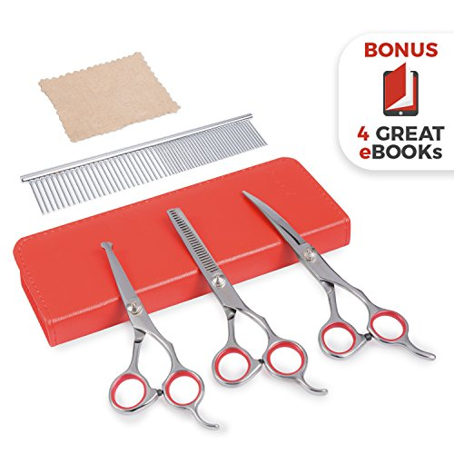 AEXYA Premium Dog Grooming Scissors Kit 3SR Pet Groom Hair Tool Set Stainless Steel Straight, thinning and Curved Sharp Shears for Small or Large Dog, cat or Other pet (Red, 3 Scissors) ()