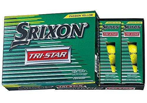 [해외] DUNLOP(던롭) 골프 볼 SRIXON TRI-STAR 트라이 스타 골프 볼 2017년 모델 1다스(12개 들이) 프리미엄 passion 옐로우