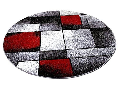 Designer Teppich Brilliant Rot Grau Fantasy Rund In 3 Grossen Amazon