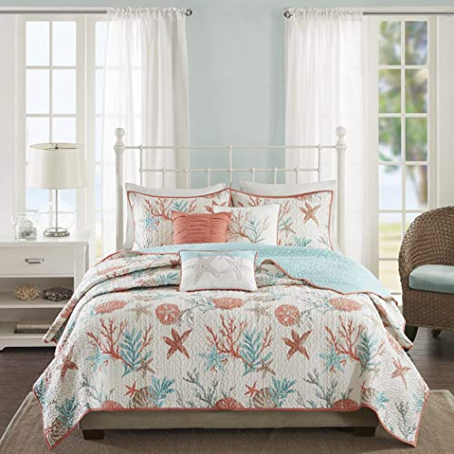 6 Piece Vibrant Orange Pink Blue White Full Queen Quilt Set, Coral Tourquoise Teal Starfish Beach Themed Bedding Sea Shell Anchor Reversible Nautical Coastal Sand Dollar Ocean Sea Life, Cotton (Life Coastal Bedding)