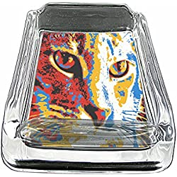 "Pop Art Cat Icon S5 Glass Square Ashtray 4""x3"" Sturdy Cigarette Smoking Bar"