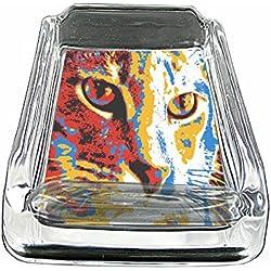 "Pop Art Cat Icon S5 Glass Square Ashtray 4""x3"" Sturdy Cigarette Smoking Bar"