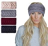 Amandir 2/4 Pcs Womens Chunky Cable Knit Turban Headbands Winter Warm Twist Head Wrap Ear Warmers