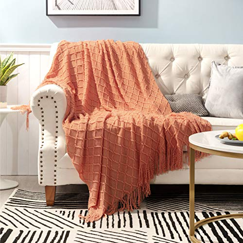 Bedsure 100% Acrylic Knit Throw Blanket, 50×60 Inch - Soft Warm Cozy Lightweight Decorative Blanket with Tassels for Couch, Bed, Sofa, Travel - All Seasons Suitable for Women, Men and Kids (Orange)