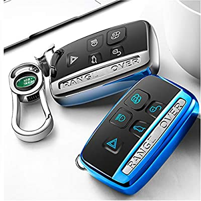 Intermerge Key Fob Cover for Range Rover Evoque Velar Sport Discovery Freelander2 LR4 Land Rover Sport and Jaguar XF XJ XE F-PACE F-Type 5-Buttons,Premium Soft TPU Protective Key Fob Case, Silver: Automotive