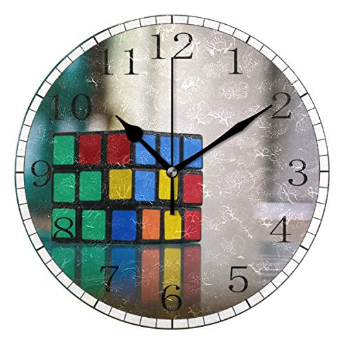 (HSGRSSGF Home Decor Clock B Rubik Cube Round Style,Silent Non -Ticking Wall Clock, Battery Operated Art Decorative for Kitchen,Living Room,Kids Room and Coffee Decor (10 Inch))