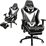 GTRACING Ergonomic Gaming Chair High Back Swivel Computer Office Chair Adjusting Headrest Lumbar Support Recliner Napping Chair Footrest (Black)