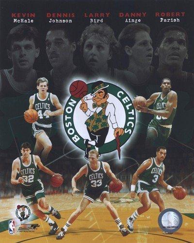 Boston Celtics Big Five Legends Kevin McHale, Dennis Johnson, Larry Bird, Danny Ainge and Robert Parish 8X10 Photo