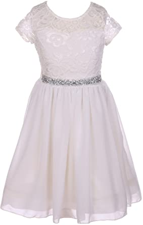 6439556547a Flower Girl Dress Lace Cap Sleeve Top Chiffon Tea Length for Little Girl  Off White 2