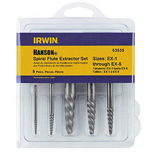 Irwin Industrial Tools 53535 Spiral Screw Extractor Set, 5-Piece 5 Screw Extractor Set