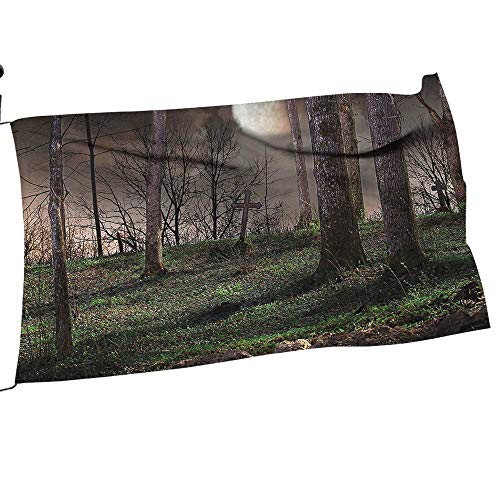 painting-home Garden Flag Dark Night in The Full Mo Horror Theme Grunge Style Halloween Brown Spring Summer Welcome Yard Decor22 x 33