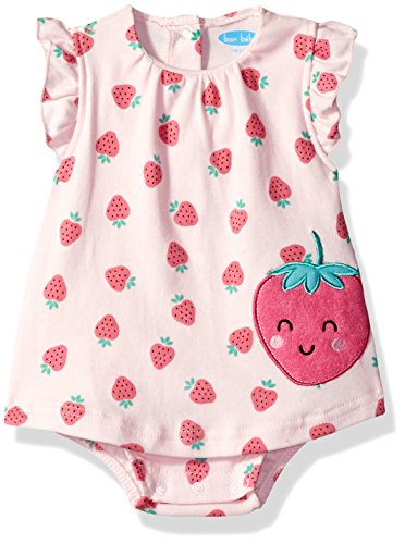 [BON BEBE Baby Girls' 1 Piece Sundress with Built in Diaper Cover, Sweet Strawberries, 3-6 Months] (Sweet Strawberry)