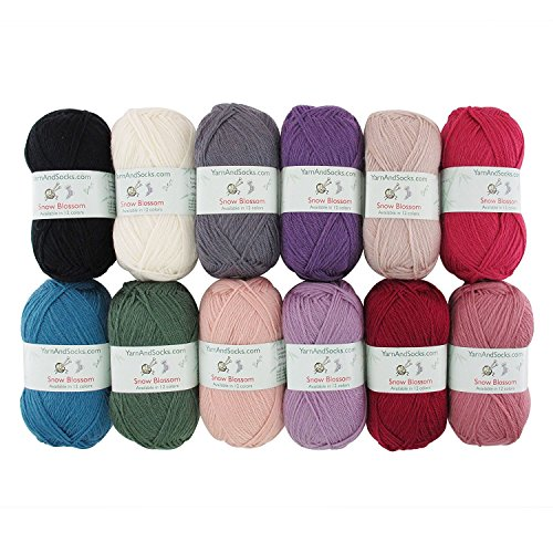 Worsted Weight Sock Yarn - Snow Blossom - Wool Worsted Weight Yarn - 4 Skein Assorted Color Surprise Package