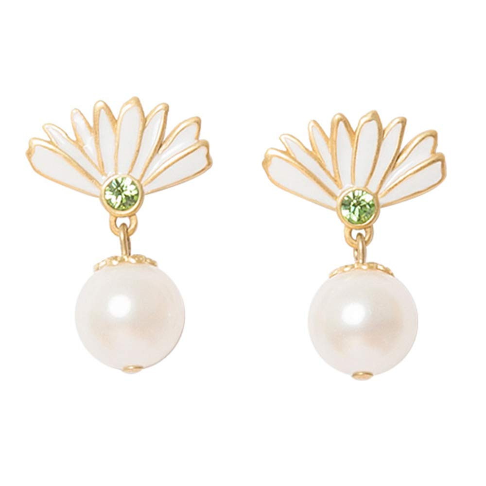 Fellala Dangle Pearl Earrings Vintage White Flower Gold Plated Drop Earrings