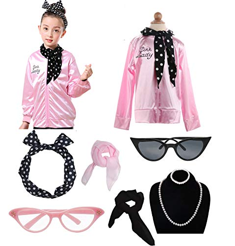 Grease Girls 50's Pink Ladies Costume Jacket Outfit Set (XL, ()