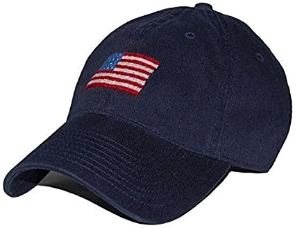 American Flag Needlepoint Hat in Navy by Smathers   Branson at Amazon  Women s Clothing store  e2b29aef5a6