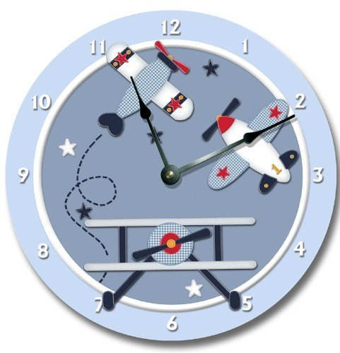 Fancy This BABY AVIATOR wall art clock nursery airplane large 10 1/2