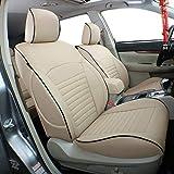 EKR Custom Fit Full Set Car Seat Covers for Select Subaru Outback 2015 2016 2017 2018 2019 - Leatherette (Beige)