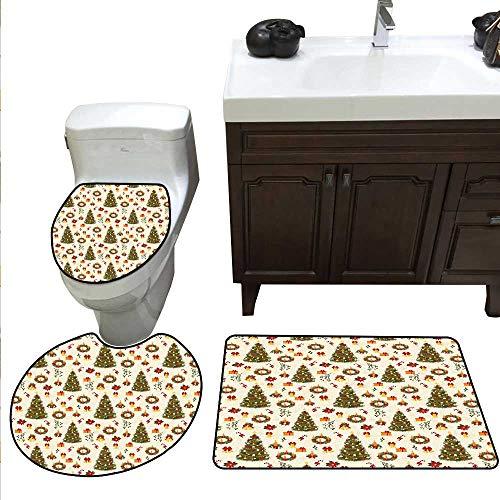 (Christmas 3 Piece Toilet mat Set Fir Tree Garland and Bells Festive Ornaments Xmas Themed Cartoon Seasonal Holiday Bathroom and Toilet mat Set Multicolor)