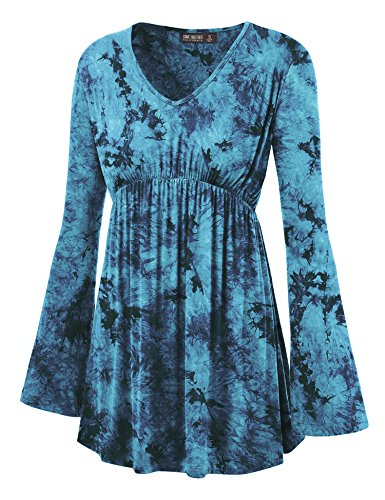 WT1160 Womens Tie-Dye Long Sleeve Empire Waist Line Tunic Top S Teal