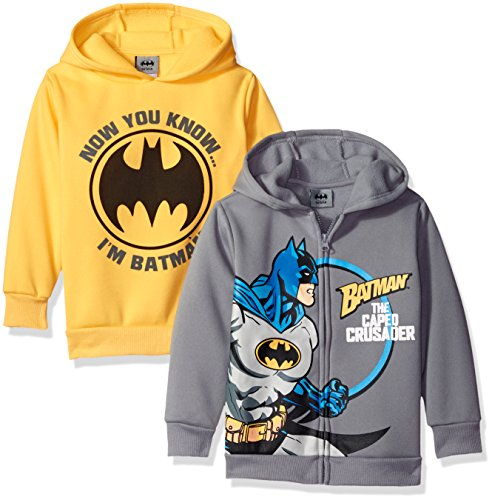DC Comics Little Boys' Toddler Batman 2 Pack Hoodies, Grey, (Batman Outfits)