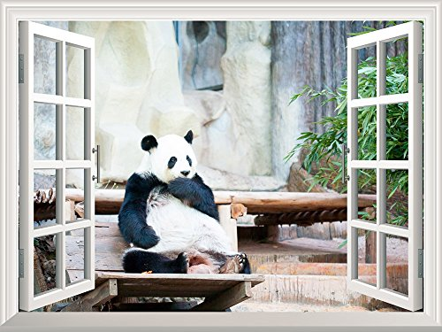 Removable Wall Sticker Wall Mural Cute Giant Panda Creative Window View Wall Decor
