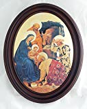 Nativity scene by Da Fabriano, print on glass with dark-stained wood frame, 11x13inches. Made in Italy.