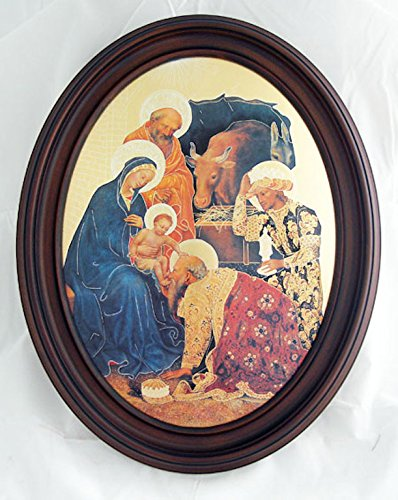 Nativity scene by Da Fabriano, print on glass with dark-stained wood frame, 11x13inches. Made in Italy. by GSV001