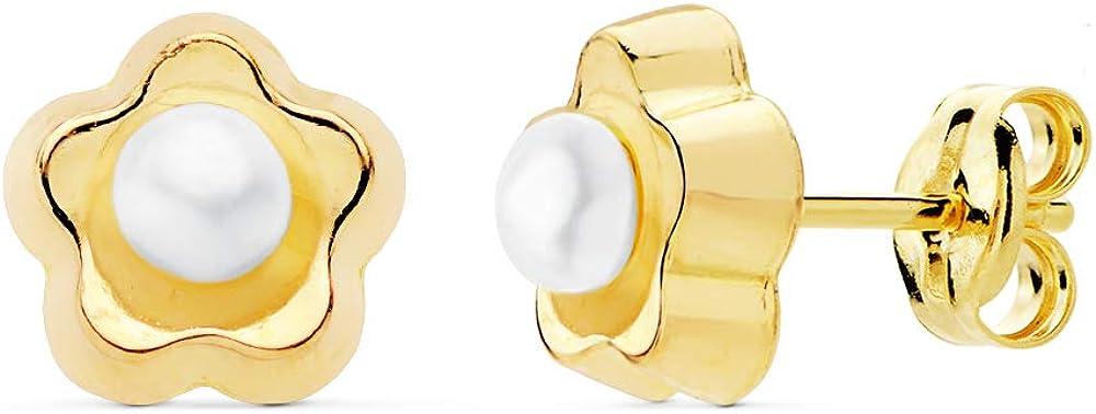 Pendientes Niña Flor Perla Oro Amarillo 18K 8 mm