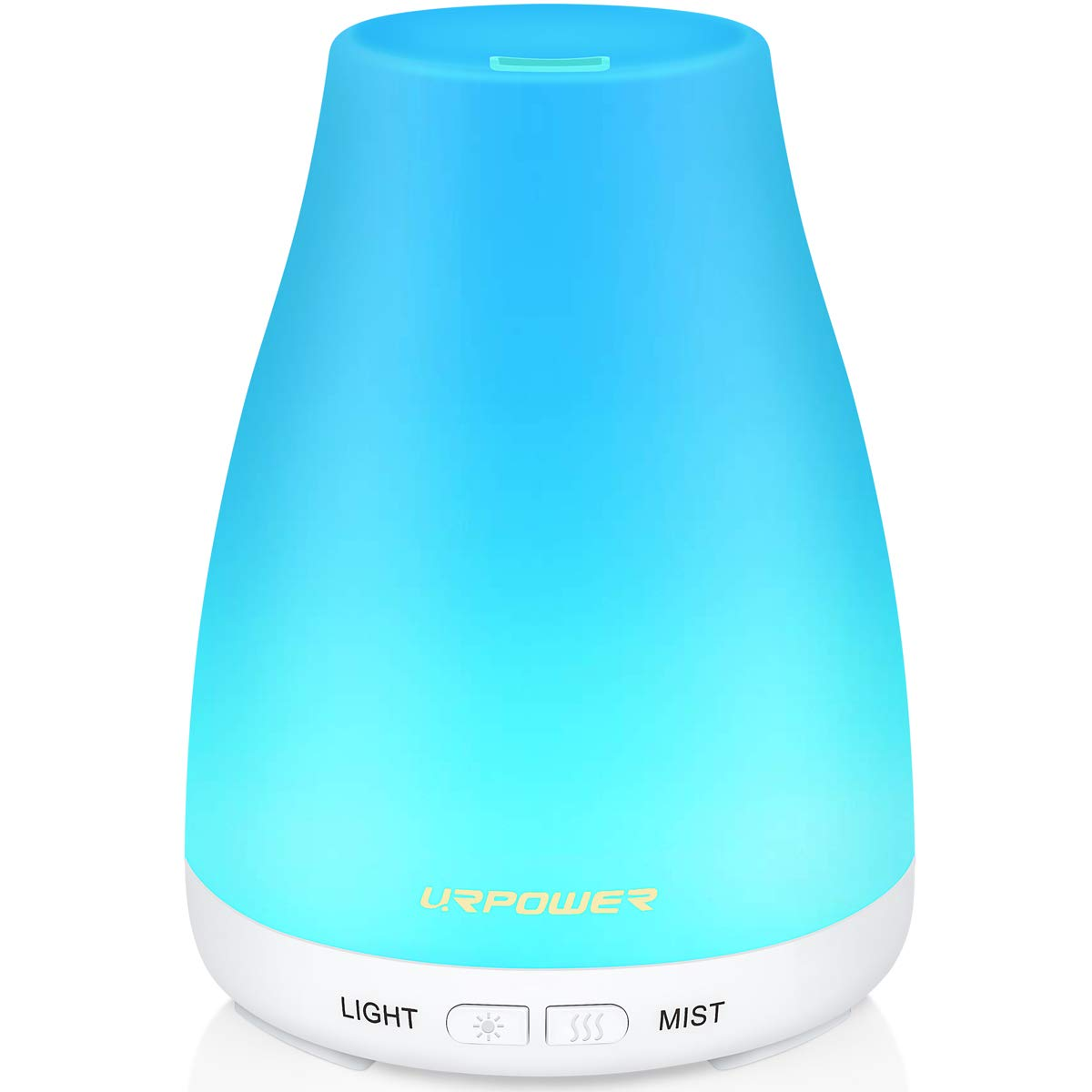 URPOWER 2nd Version Essential Oil Diffuser Aroma Essential Oil Cool Mist Humidifier with Adjustable Mist Mode,Waterless Auto Shut-off and 7 Color LED Lights Changing for Home (White) by URPOWER