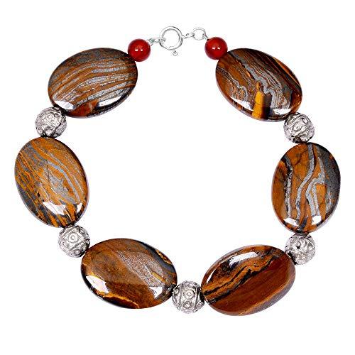 Sterling Silver Bracelet For Women   Multi Birthstone Bracelet   7.9 Carat Multi Color Red Onyx & OutBack Jasper Engagement Bracelet by Orchid Jewelry   Simple. Beautiful. ()