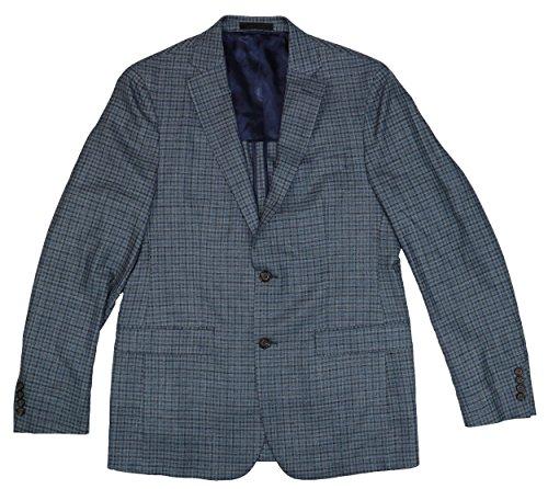 lassic Fit Wool Blend Checkered Sports Jacket (44 Long, Blue) (Classic Silk Blazer)