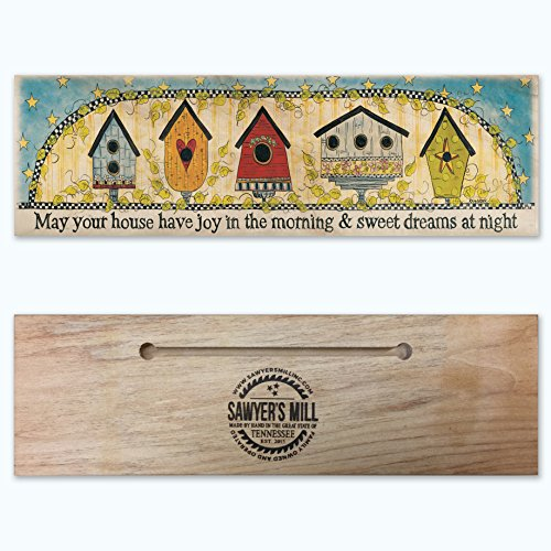 May Your Home Have Joy in the Morning and Sweet Dreams at Night – Handmade Wood Block Sign Featuring Art from Penny Lane Publishing