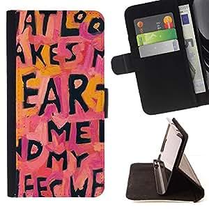 For Samsung Galaxy S6 EDGE (NOT S6) Plus / S6 Edge+ G928 Case , Cita Corazón texto Cartas Pink Love Pink- la tarjeta de Crédito Slots PU Funda de cuero Monedero caso cubierta de piel