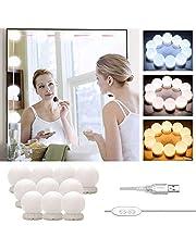 LED ijdelheid spiegelverlichting Hollywood stijl, Stick-on make-up spiegel licht Kit, USB-kabel cosmetische lamp, 3 kleurmodi & 10 helderheid DIY vullicht voor kaptafel badkamer (geen spiegel en USB-oplader)