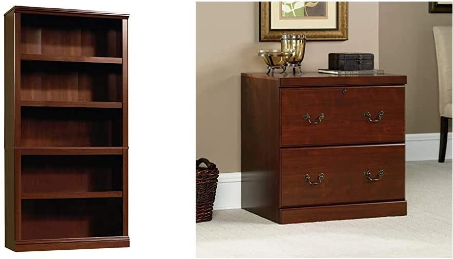 Sauder 5 Shelf Bookcase, Select Cherry Finish & Heritage Hill Lateral File, Classic Cherry Finish