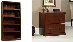 Sauder 5 Shelf Bookcase, Select Cherry Finish & Heritage Hill Lateral File, Classic Cherry Finish
