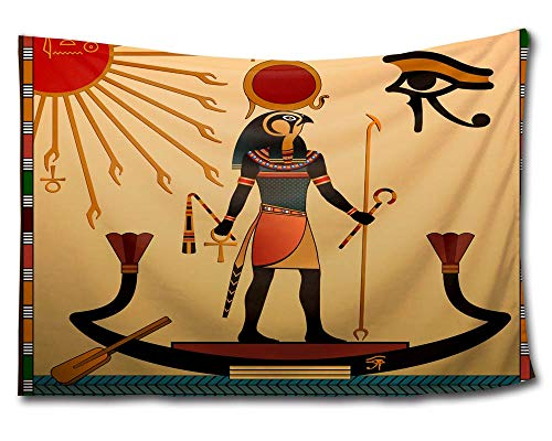 Ancient Egyptian Cloth - HMWR African Egyptian Tapestry Wall Hanging Ancient Exotic Ethnic Tribal Egypt Wall Decor Art African Anubis Eye Sun God Totem Home Decorations Light-weight Polyester Tapestry 60x40 Inch