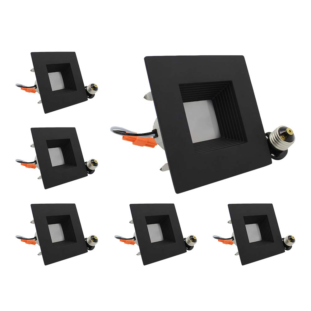 ESD Tech 6 Pack of 4'' Inch LED Dimmable Recessed Downlight Trim, Black Square Baffle Retrofit, 3000K, 600 Lm, 9W, 120V, Energy Star, ETL Listed, Indoor/Outdoor Rated
